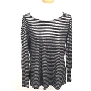Soft Joie Silver Black Striped Long Sleeve  Tunic
